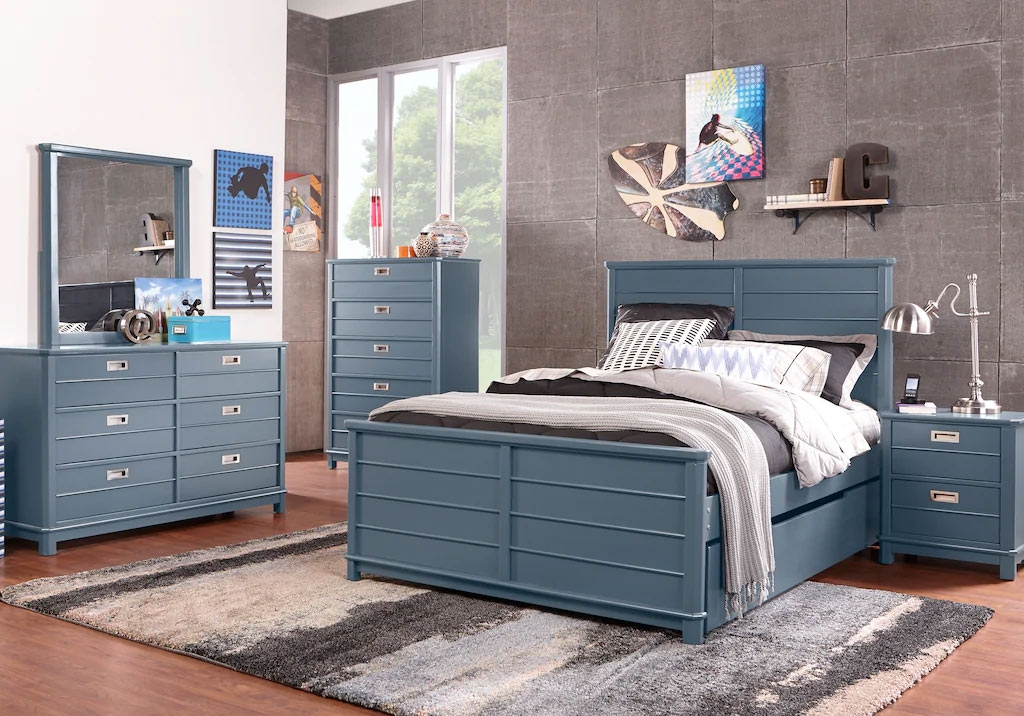 Bay Street Blue Bedroom Set Highlighted by Sharp Geometric Lines