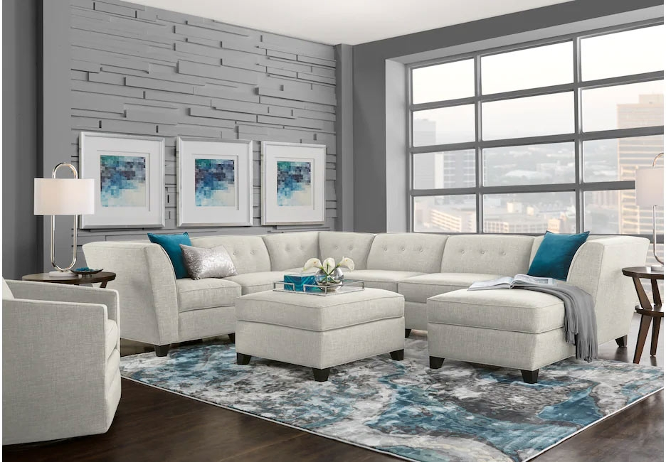 White Fabric Sectional Seating Set Accented with Ice Blue Decor