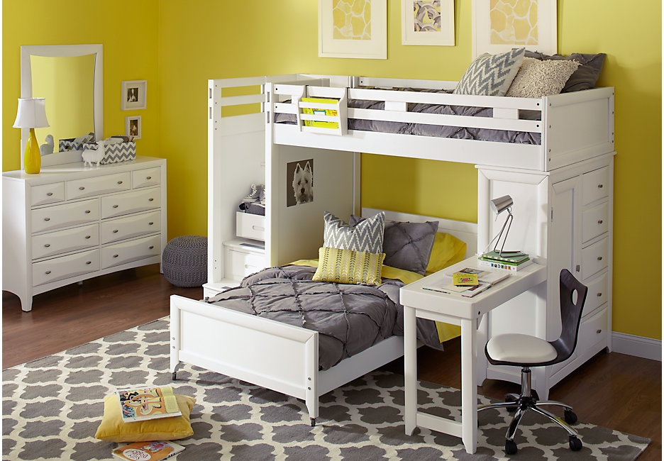 White Loft Bedroom Set with Built-in Desk and Chest of Drawers