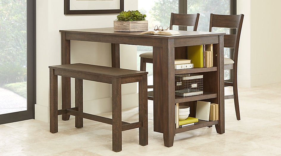 Brown Bench Seat Dining Set with Built-in Shelving