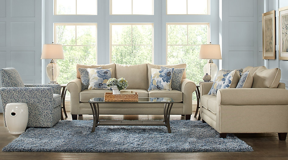 Beige & Blue Living Room Set Accentuated with Neutral Tones