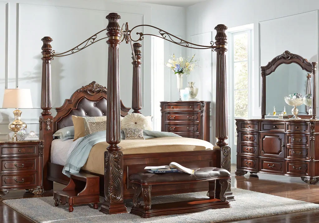 Wood Canopy Bedroom Set with Matching Dressers and Nightstand
