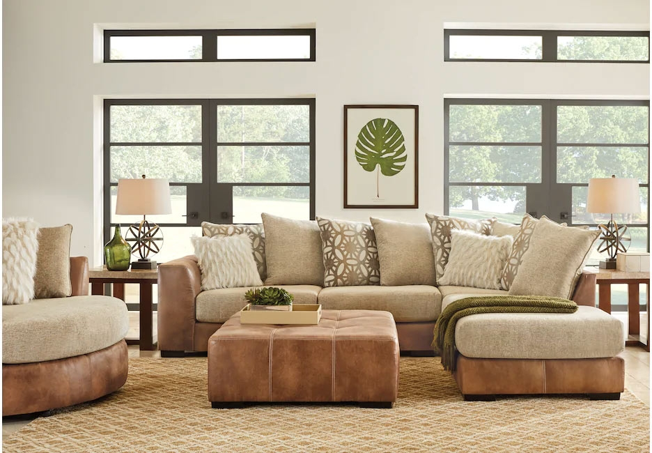 Soft Brown and Beige Sectional with Warm Green Decor & Accents
