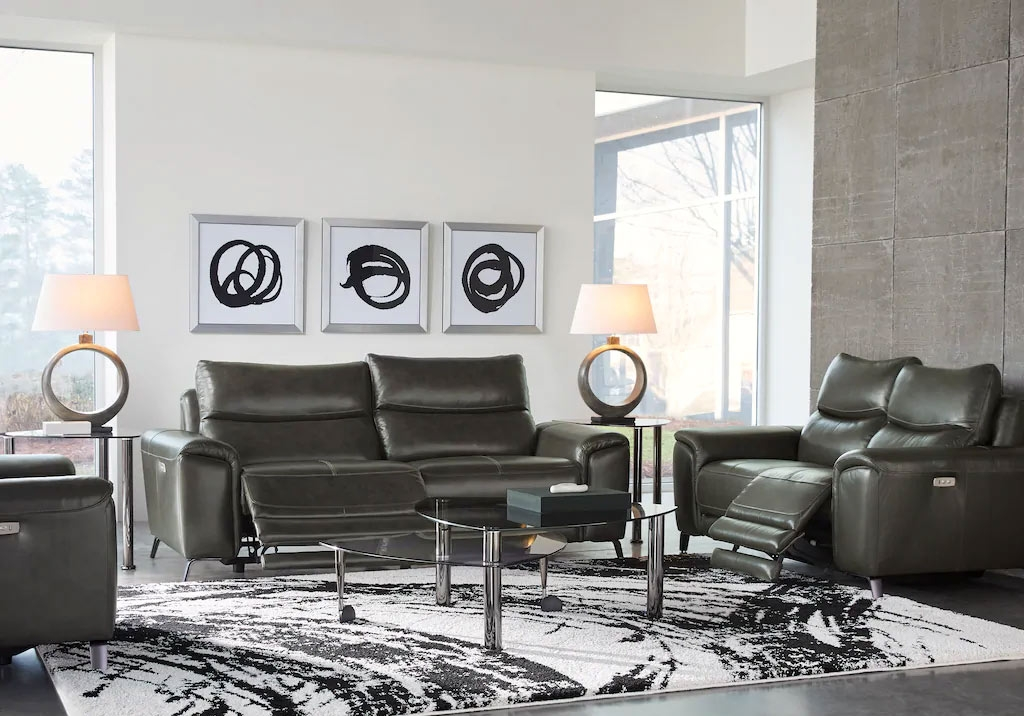 Gray Leather Living Room Set in a Monochromatic Design