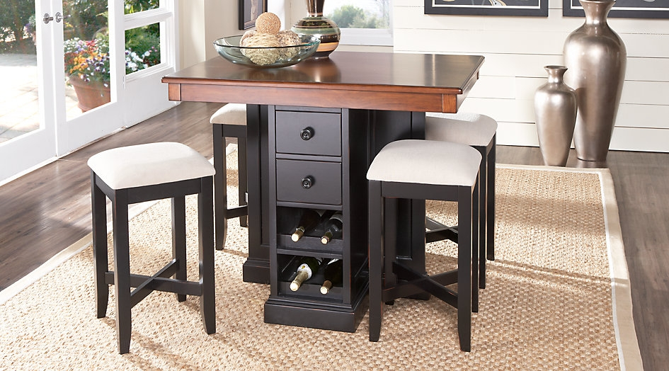 Black & Brown Island Style Dining Set with Stool Seating, Drawers, and Built-In Wine Rack