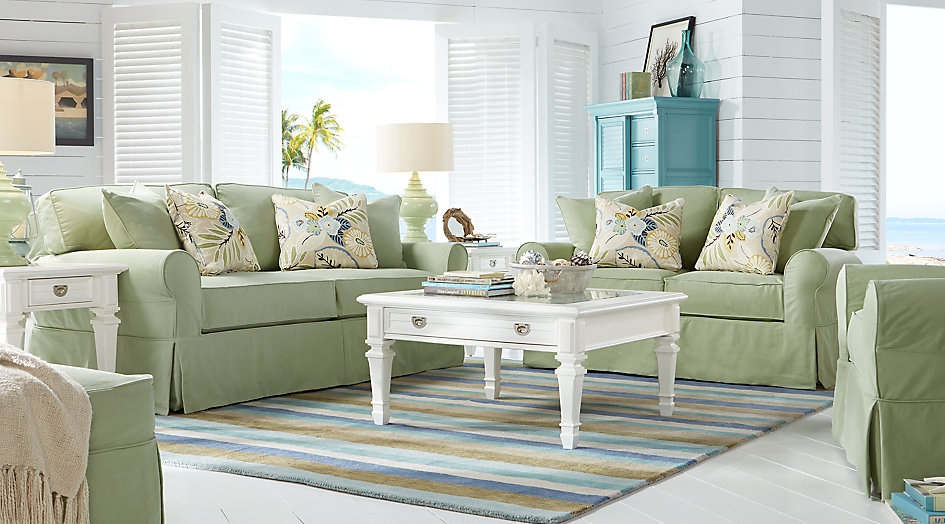 Green 5 Piece Living Room Set Highlighted with Gray & White