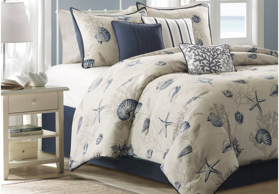 Beach Point Queen Comforter Set Featuring Seashell & Coral Print