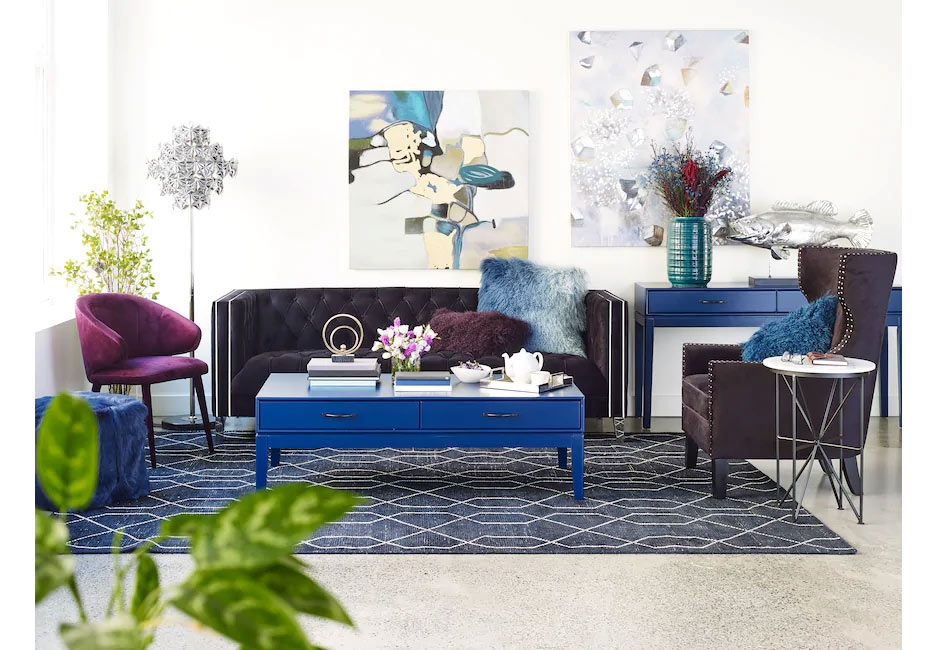 Blue Jewel Toned Table Set & Decor Accented by a Plum Colored Seating Set