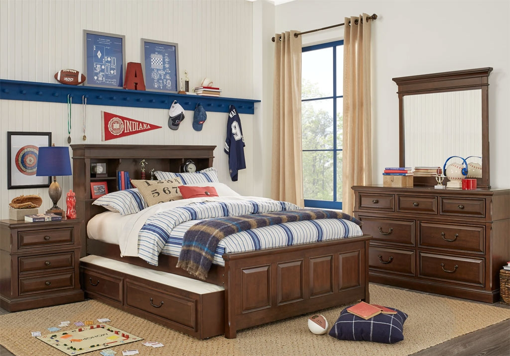 Wood Panel Storage Bed with Nightstand and Dresser Mirror Set