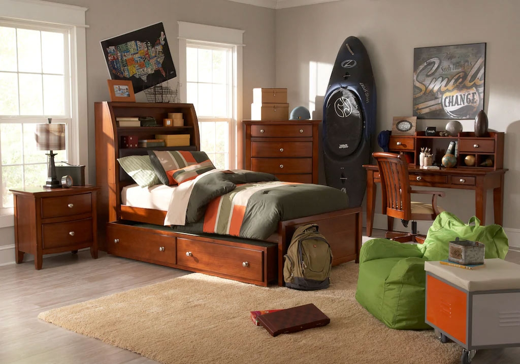 Bookcase Bed Set with Added Storage Paired with Wooden Writing Desk & Chair