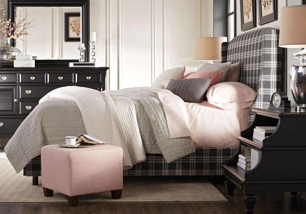 Alona Pink Ottoman Adding Contrast to a Monochromatic & Patterned Theme