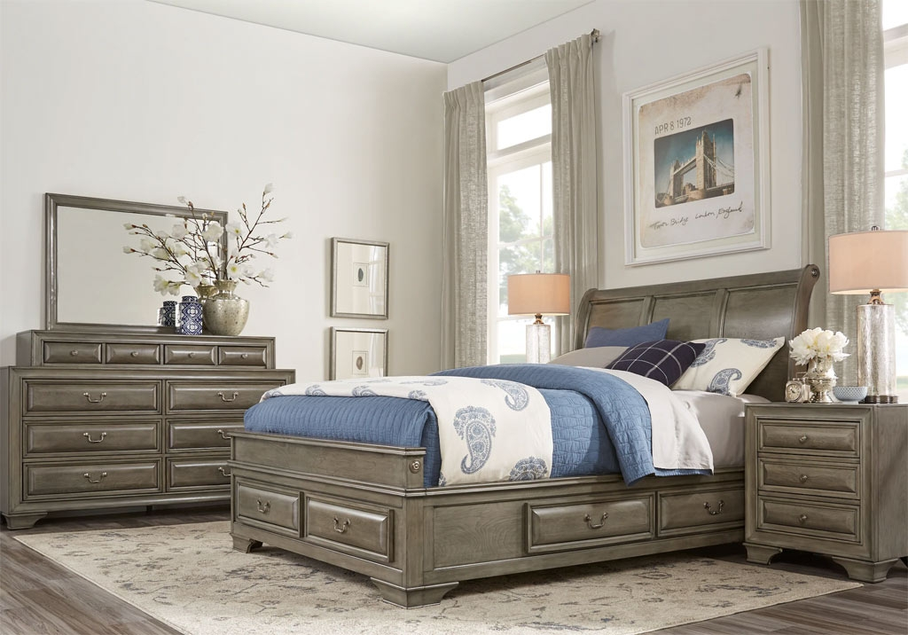 Mill Valley Storage Bedroom Set with White and Blue Accents