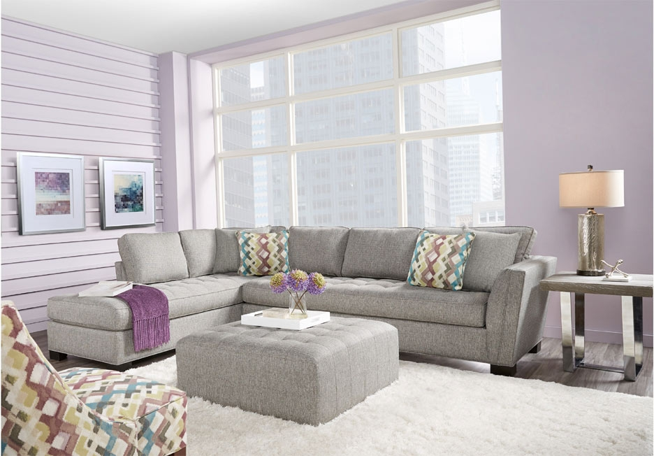 Cindy Crawford Home Calvin Heights Gray Textured 2-piece Textured Sectional