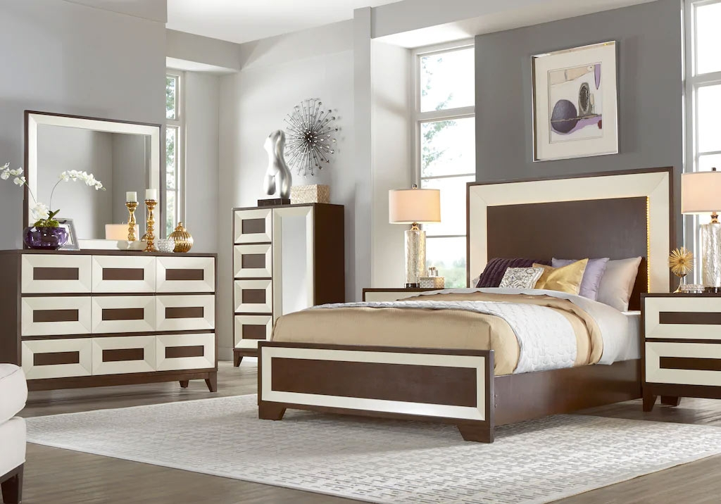 Modern Bedroom in Brown and White with Matching Nightstand & Dresser Mirror Set