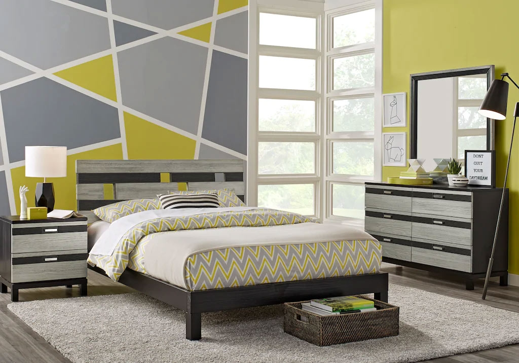Modern Teen Girl's Platform Bedroom Set with Gray and Green Accents