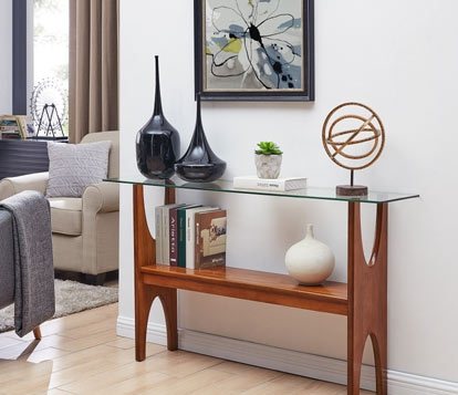 Saranac Brown Console Table with Glass Top