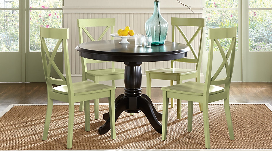 Black Wood Table Set with Key Lime Green Accent Chairs