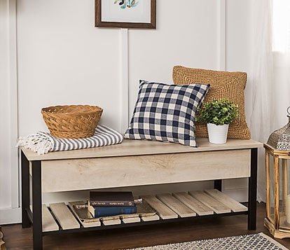 Birchcrest White Entryway Accent Bench with Built-in Shoe Storage