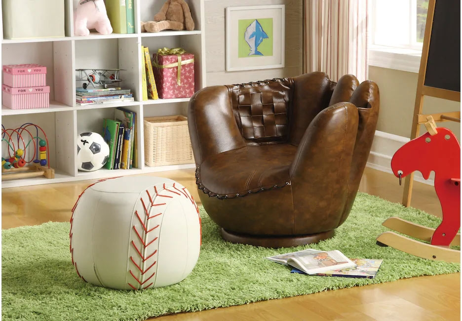 Baseball Glove Chair with Matching Baseball Ottoman Set