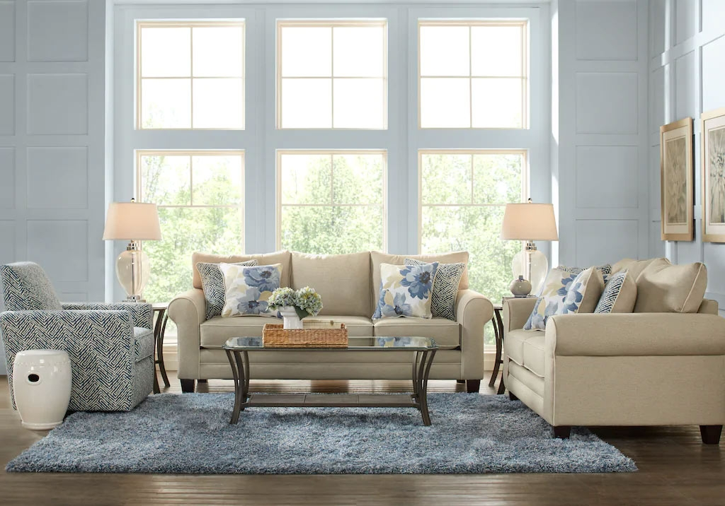 Spring Blooms Beige, Blue, & Brown Inspired 7-piece Living Room