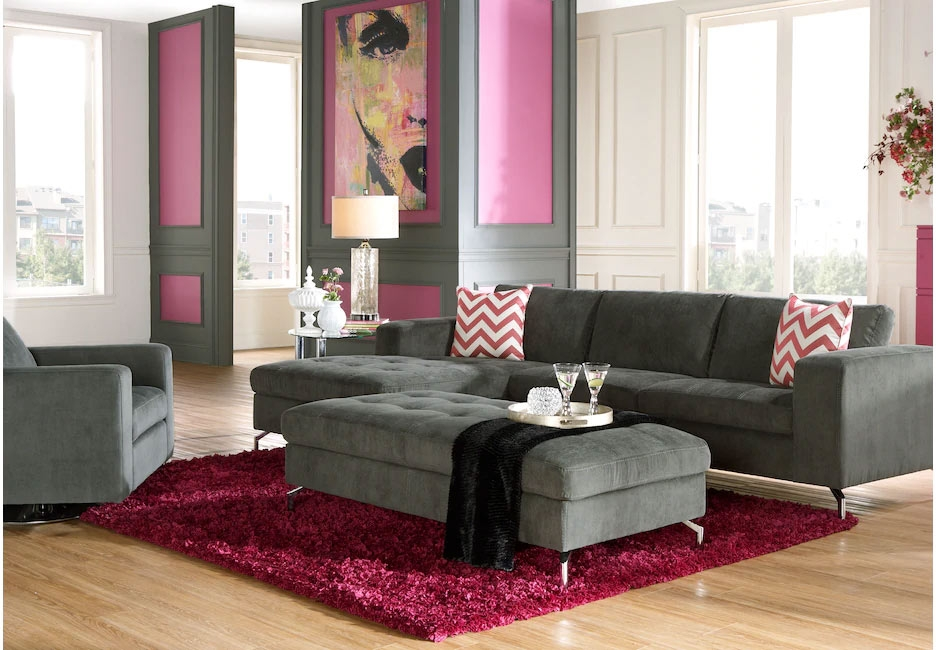 Gray Upholstered Accented with Pink and White Decor