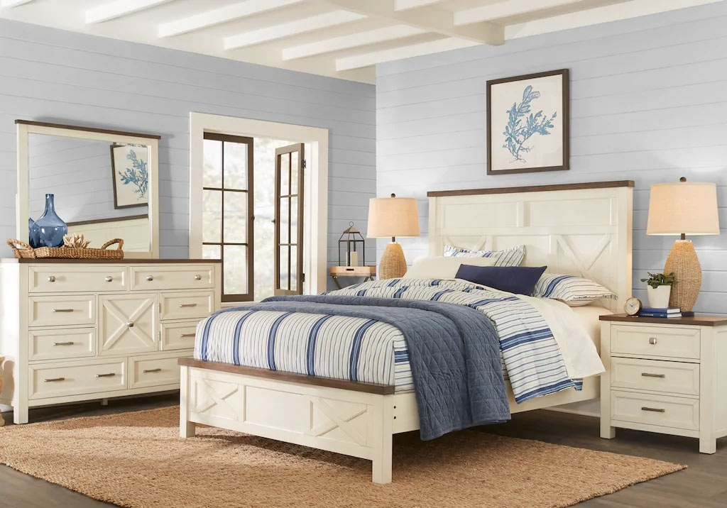 Panel Bedroom Set with Brown Trim and Blue & White Decor