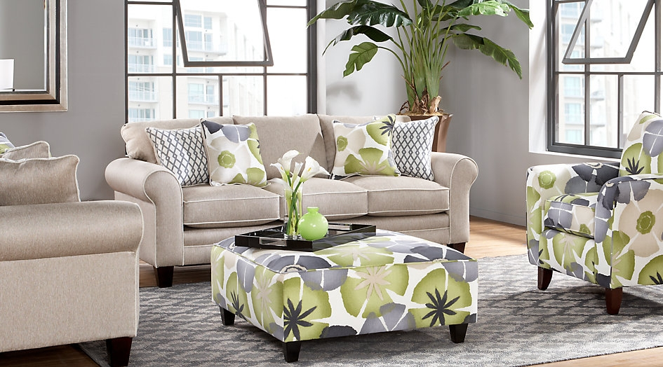 3 Piece Gray Living Room Set Featuring Floral Print Seating
