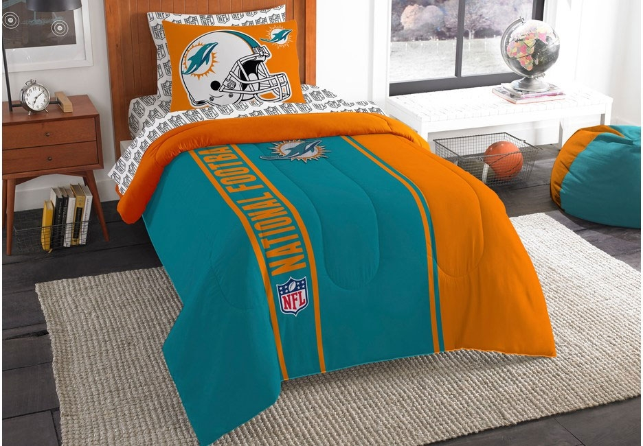 NFL Decor Bedroom with Matching Bedding and Bean Bag Seating