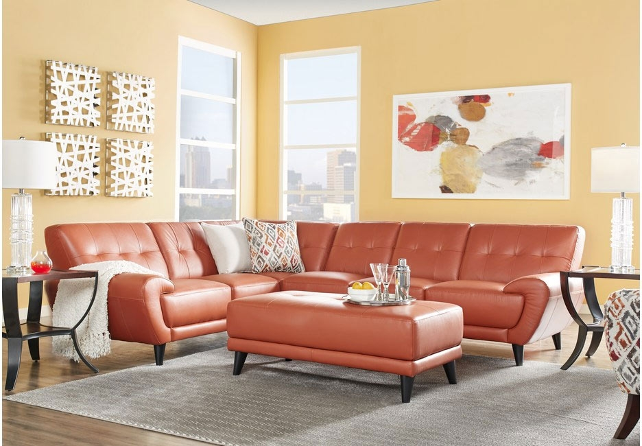 Papaya Leather Modern Living Room Featuring Bursts of Bright Neutral Colors