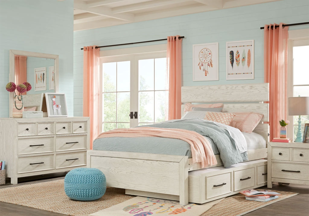 Teen Bedroom Set with Built-in Storage & Highlighted with Soft Pastel Blues and Pinks