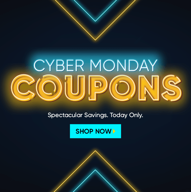 cyber monday coupons. cyber savings for one day only. shop now