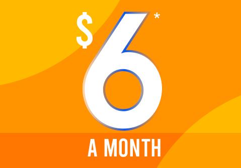$6* a month