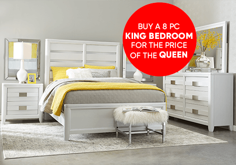 Buy an 8 Pc King Bedroom for the Price of the Queen