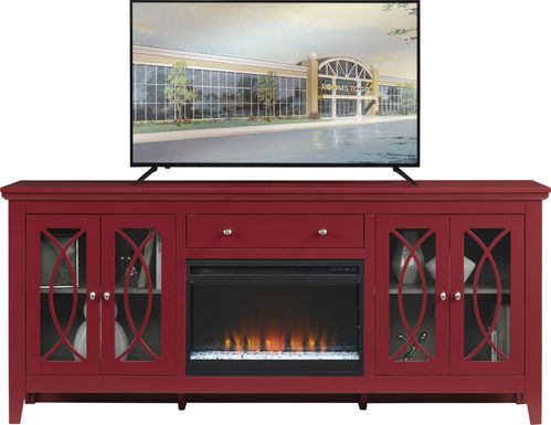 Abbie Crimson 80 in. Console with Electric Fireplace