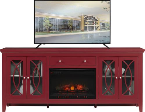 Abbie Crimson 80 in. Console with Electric Log Fireplace