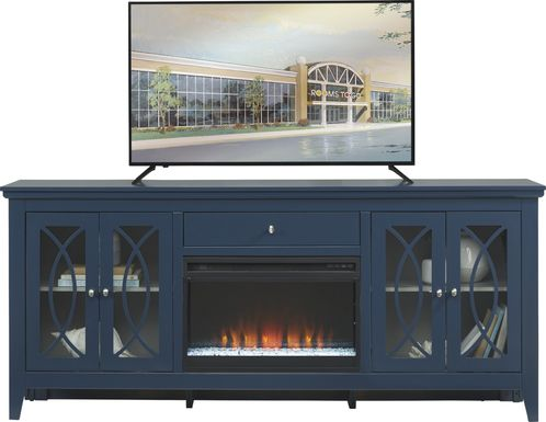 Abbie Navy 80 in. Console with Electric Fireplace