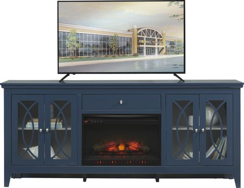 Abbie Navy 80 in. Console with Electric Log Fireplace