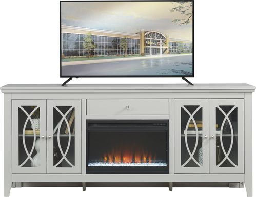 Abbie Silver 80 in. Console with Electric Fireplace