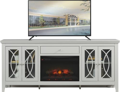 Abbie Silver 80 in. Console with Electric Log Fireplace