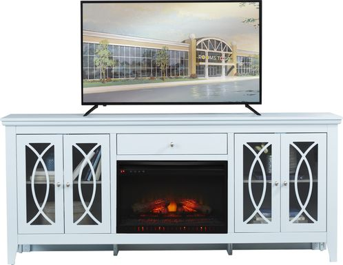 Abbie Sky 80 in. Console with Electric Log Fireplace