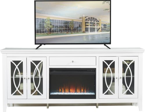 Abbie White 80 in. Console with Electric Fireplace