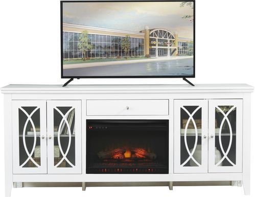 Abbie White 80 in. Console with Electric Log Fireplace