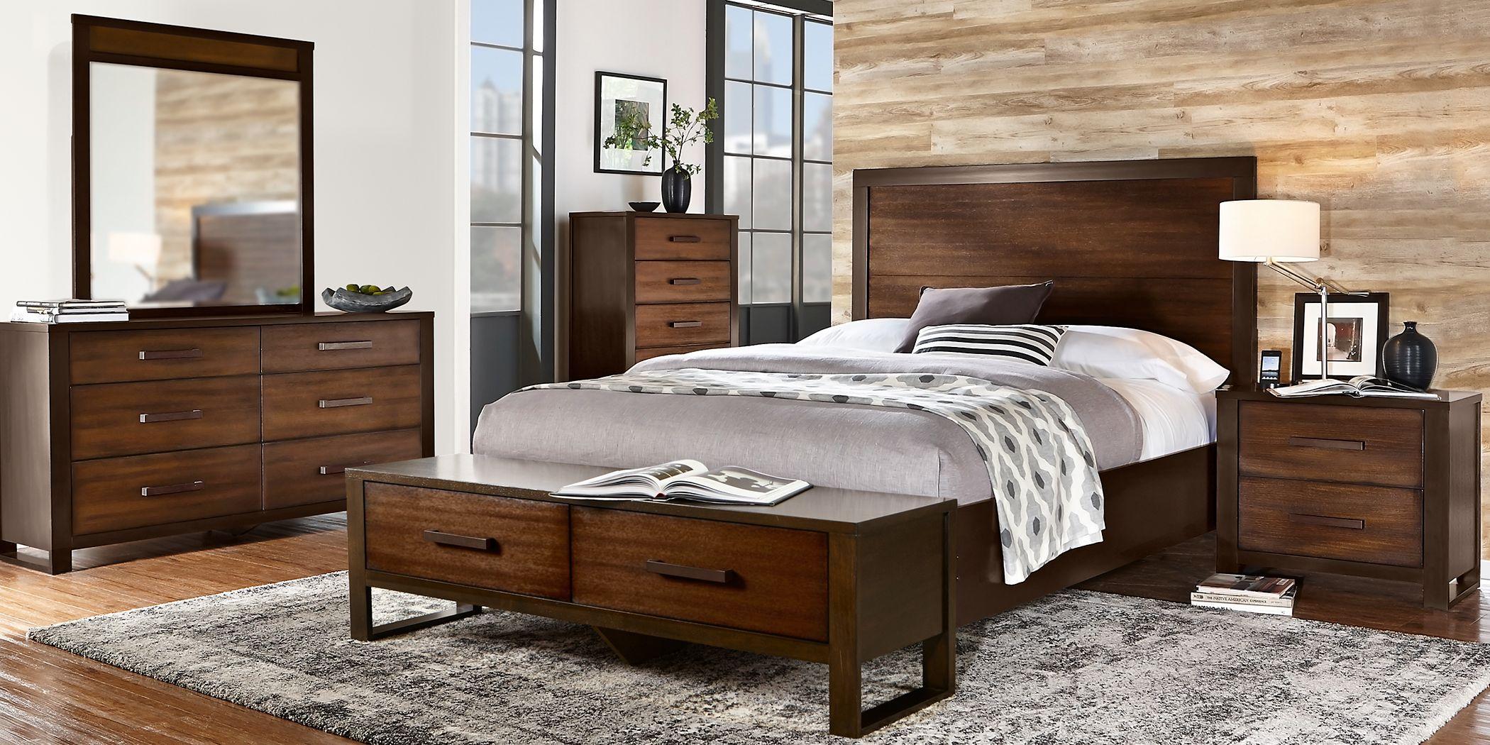 Abbott Hazelnut 7 Pc King Panel Bedroom with Storage