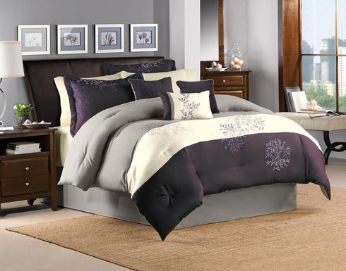 Abiona Plum 7 Pc Queen Comforter Set