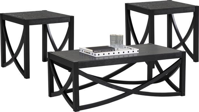 Abner Black 3 Pc Table Set