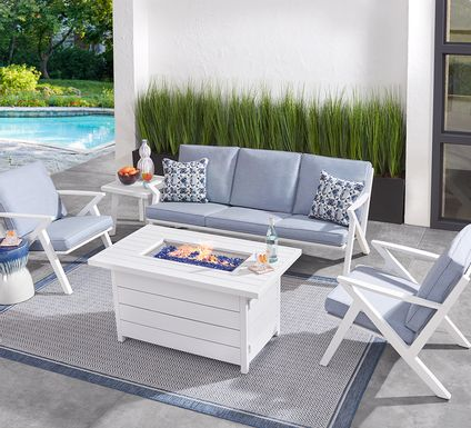 Acadia White 4 Pc Outdoor Fire Pit Set with Hydra Cushions