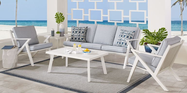 Acadia White 4 Pc Outdoor Seating Set with Hydra Cushions