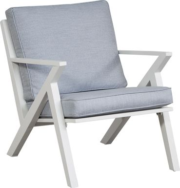 Acadia White Outdoor Chair with Hydra Cushions