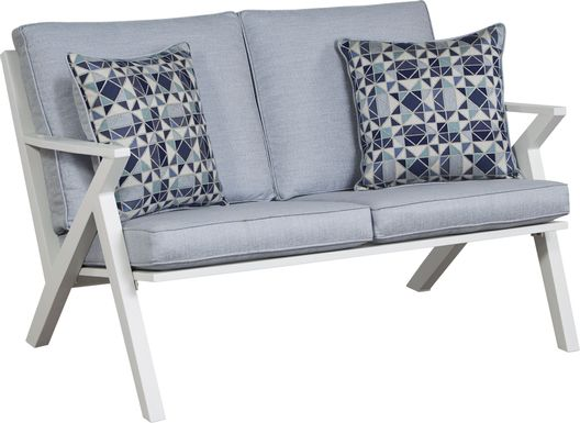 Acadia White Outdoor Loveseat with Hydra Cushions