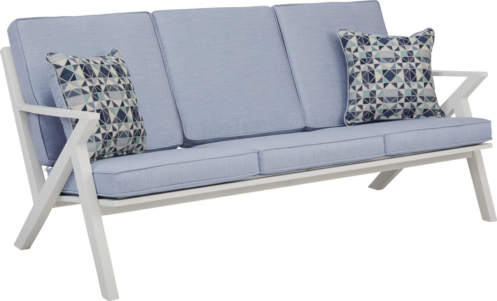 Acadia White Outdoor Sofa with Hydra Cushions